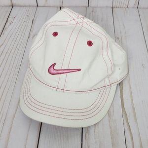 Nike White Pink Logo Girls Baseball Cap